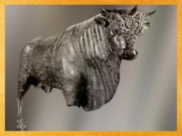 D'après le Taureau à Trois Cornes dit Taureau d'Avrigney, statue métal cuivreux, Ier siècle, Franche-Comté, Gaule Romaine. (Marsailly/Blogostelle)