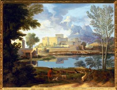D'après le tableau Paysage Temps Calme, Nicolas Poussin, 1650-1651 apjc, XVIIe siècle, classicisme, France. (Marsailly/Blogostelle)