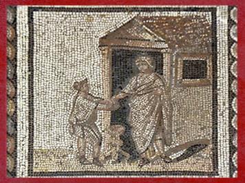 D'après le culte domestique des Lares, mosaïque de Saint-Romain-en-Gal, IIIe siècle apjc, France,Gaule Romaine. (Marsailly/Blogostelle)