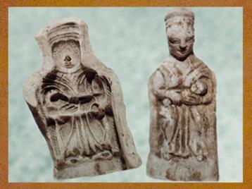 D'après un moule et une figurine de déesse mère, terre cuite,France,Gaule Romaine. (Marsailly/Blogostelle)