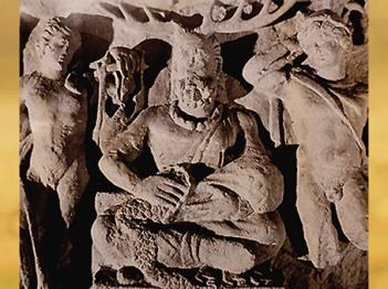 D'après la stèle de Cernunnos, dieu cornu gaulois, entre Apollon et Mercure, IIe siècle apjc, France, Gaule Romaine. (Marsailly/Blogostelle)
