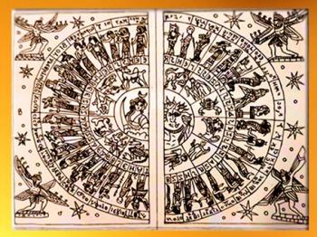 D'après Luna et Sol au centre du zodiaque, diptyque de Grand, IIe siècle apjc, Vosges, France, Gaule Romaine. (Marsailly/Blogostelle)