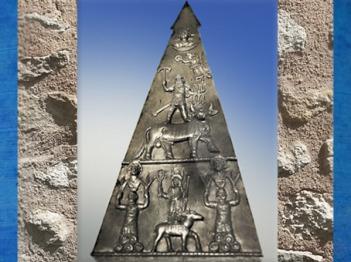 D'après une plaque votive, culte de Jupiter Dolichenus, Heddernheim, IIe -IIIe siècle apjc, Allemagne,époque Romaine. (Marsailly/Blogostelle)