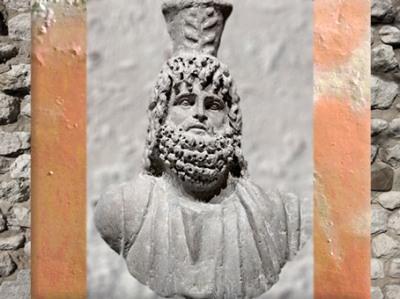 D'après un buste de Sérapis, fin IIe siècle apjc, basalte, Egypte, époque Romaine. (Marsailly/Blogostelle)