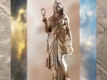 D'après la déesse Isis, avec sistre et vase à libation, Villa Adriana, IIe siècle apjc, marbre, Tivoli, époque Romaine. (Marsailly/Blogostelle)