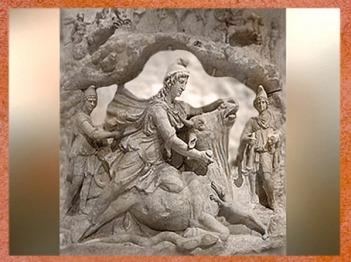 D'après un haut relief, Mithra sacrifie le Taureau, IIe siècle apjc, époque Romaine. (Marsailly/Blogostelle)
