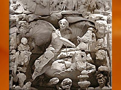 D'après le Taurobole, relief du Mithraum de Sarrebourg, IIe-IIIe siècle apjc, Moselle, Gaule Romaine. (Marsailly/Blogostelle)
