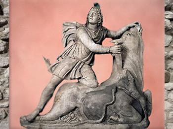 D'après Mithra, le Taureau, le scorpion, le serpent et le chien, fin Ier siècle apjc, Angers, France, Gaule Romaine.(Marsailly/Blogostelle)