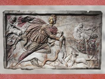 D'après le Sacrifice de Mithra et l'envolée sur le Char Solaire, IIIe siècle apjc, mithraeum Santo Stefano, Rome, époque Romaine. (Marsailly/Blogostelle)