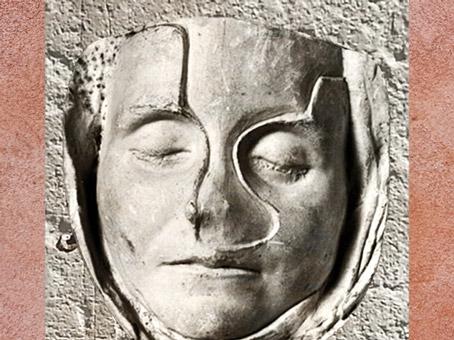 D'après l'imago d'une femme, IIe siècle apjc, plâtre du masque mortuaire de Claudia Victoria, Lyon, France, Gaule Romaine. (Marsailly/Blogostelle)