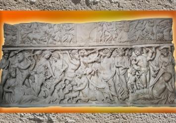 D'après le sarcophage de Dionysos et Ariane endormie, marbre, fin IIIe siècle apjc, Gironde, France,Gaule Romaine. (Marsailly/Blogostelle)