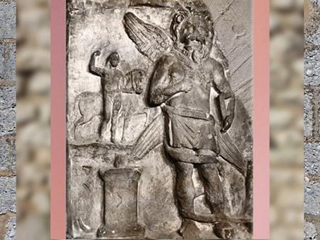 D'après Mithra léoncéphale (tête de lion), Mithraeum de Vienne Poitou, France, Gaule Romaine. (Marsailly/Blogostelle)