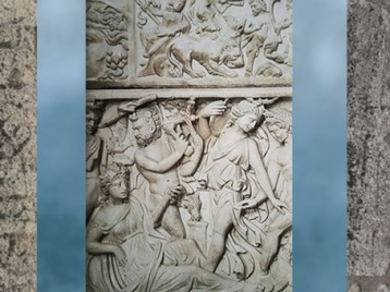 D'après ménades et satyres, fin IIIe siècle apjc, sarcophage dionysiaque, Gironde, Gaule Romaine. (Marsailly/Blogostelle)