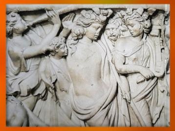 D'après Dionysos et Ariane, détail de sarcophage, fin IIIe siècle apjc, marbre, Gironde, France, Gaule Romaine. (Marsailly/Blogostelle)