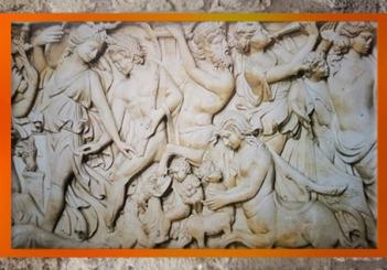 D'après Dionysos et Ariane, cortège, sarcophage de Dionysos, marbre, fin IIIe siècle apjc, Gironde, Gaule Romaine. (Marsailly/Blogostelle)