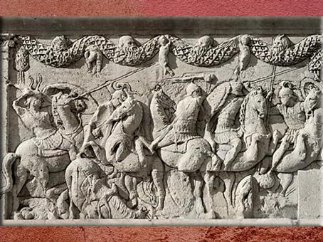 D'après les reliefs du mausolée de Julius, fin Ier siècle avjc, cavaliers, Saint-Remy-de-Provence, France,Gaule Romaine. (Marsailly/Blogostelle)