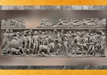 D'après un sarcophage, le Triomphe de Dionysos, marbre de Turquie, vers 215- 225 apjc, Gaule Romaine. (Marsailly/Blogostelle)