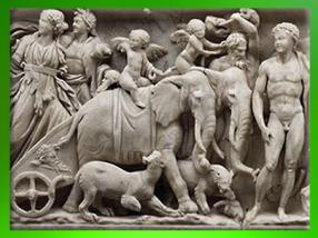 D'après le Triomphe de Dionysos, éléphant, sarcophage, marbre de Turquie, vers 215- 225 apjc, Gaule Romaine. (Marsailly/Blogostelle)