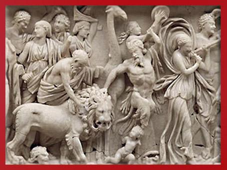 D'après le Triomphe de Dionysos, lion, sarcophage, marbre de Turquie, vers 215- 225 apjc, Gaule Romaine. (Marsailly/Blogostelle)