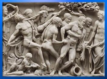 D'après un sarcophage, détail du Triomphe de Dionysos, marbre de Turquie, IIIe siècle apjc, époque romaine. (Marsailly/Blogostelle)