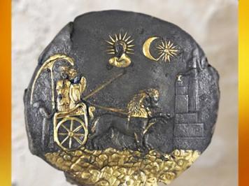 D'après Cybèle, plaque d'argent doré, IIIe siècle avjc, sanctuaire Aï Khanoum, Afghanistan, époque Romaine. (Marsailly/Blogostelle)