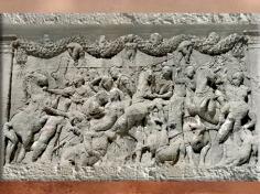 D'après les reliefs du mausolée de Julius, fin Ier siècle avjc, chasse au sanglier, Saint-Remy-de-Provence, France,Gaule Romaine. (Marsailly/Blogostelle)