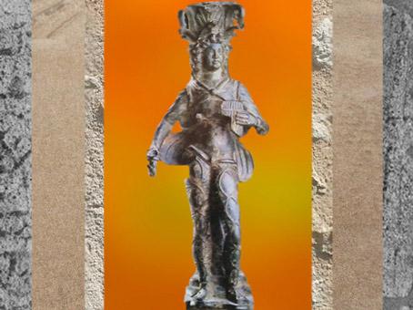 D'après une statuette d'Attis, compagnon aimé de Cybèle, bronze, IIe-IIIe siècle apjc, Turquie, époque Romaine. (Marsailly/Blogostelle)