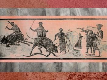 D'après une scène de Sacrifice du Taureau, mosaïque, caserne des Vigiles du Feu, Ostie, Ier-IIIe siècle apjc, Italie, époque Romaine. (Marsailly/Blogostelle)