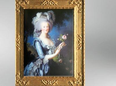 D'après le portrait de Marie-Antoinne, dit à la Rose, 1783, Élisabeth Louise Vigée Le Brun. (Marsailly/Blogostelle)
