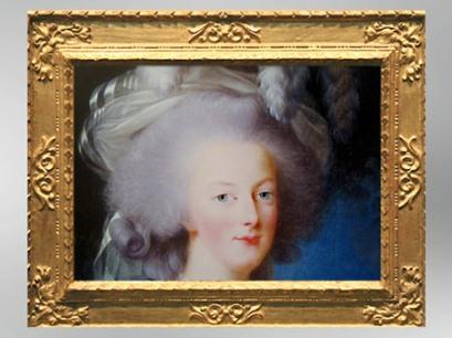 D'après le visage de Marie-Antoinette, détail du portrait dit à la Rose, 1783,Élisabeth Louise Vigée Le Brun. (Marsailly/Blogostelle)