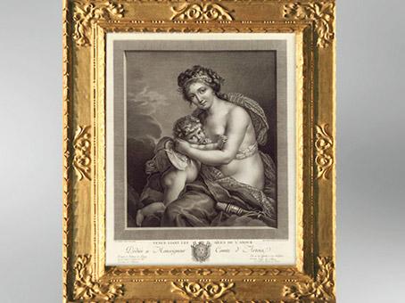 D'après le thème de Vénus liant les ailes de l'Amour 1783, Élisabeth Louise Vigée Le Brun. (Marsailly/Blogostelle)