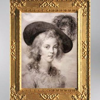 D'après un autoportrait au chapeau à plume, vers 1783, pierre noire, Élisabeth Louise Vigée Le Brun. (Marsailly/Blogostelle)