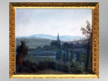 D'après lePaysage des Ardennes, l'église de Mohon, 1826, Élisabeth Louise Vigée Le Brun. (Marsailly/Blogostelle)