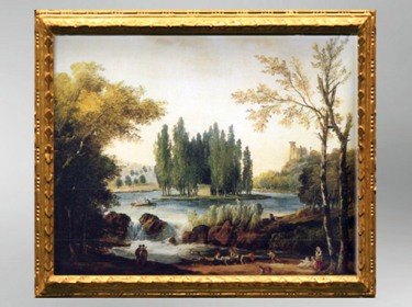 D'après la Tombe de Jean-Jacques Rousseau dans le parc d'Ermenonville, par le peintre Hubert Robert, 1802, ami fidèle d'Élisabeth Louise Vigée Le Brun. (Marsailly/Blogostelle)