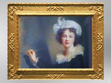 D'aprèsun autoportraitavec palette et pinceaux, détail, vers 1791, Élisabeth Louise Vigée Le Brun. (Marsailly/Blogostelle)