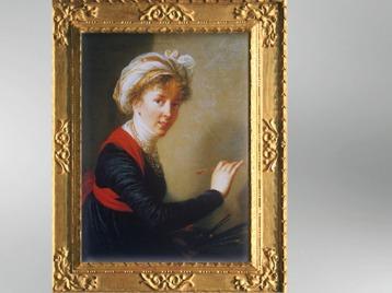 D'après un autoportrait et pinceau, vers 1800, Élisabeth Louise Vigée Le Brun. (Marsailly/Blogostelle)