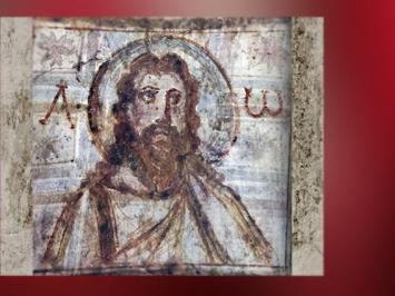 D'après une image du Christ entouré de l'Alpha et l'Oméga, fresque, catacombes de Commodille, fin IVe siècle, Rome, art paléochrétien. (Marsailly/Blogostelle)