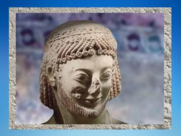 D'après le portrait dit cavalier Rampin, marbre, vers 550 avjc, acropole d'Athènes, Grèce Antique. (Marsailly/Blogostelle.)