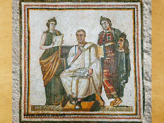 D'après une mosaïque, Virgile, Clio et Melpomène, IIIe siècle apjc, art romain, Tunis. (Marsailly/Blogostelle)