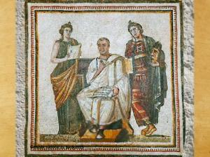 D'après une mosaïque, Virgile, Clio et Melpomène, IIIe siècle apjc, art romain, Tunis. (Marsailly/Blogostelle.)