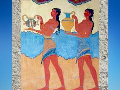 D'après une scène de procession, fresque, palais de Cnossos, vers 1900 avjc, civilisation minoenne, Crète. (Marsailly/Blogostelle.)