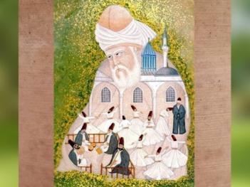 D'après unereprésentation de Rûmî, 1419 apjc, Tabriz, Ghazal, Iran,art Musulman. (Marsailly/Blogostelle)