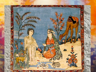 D'après le thème de Layla et Majnun, poème narratif de Nizami, iconographie du XVIe siècle apjc,art Musulman. (Marsailly/Blogostelle)