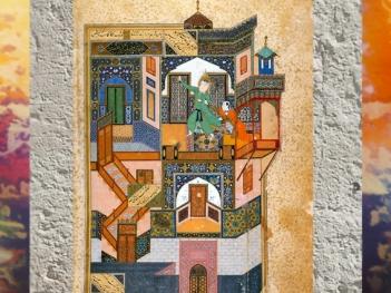 D'après une miniature, Yusuf poursuivi par Zouleïkhâ, miniature de Behzad, 1488 apjc, art Persan Musulman. (Marsailly/Blogostelle)