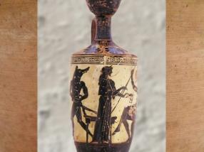 D'après une céramique, Circé offre une coupe à Ulysse, vers 490-480 avjc, Érétrie, Art Grec. (Marsailly/Blogostelle)