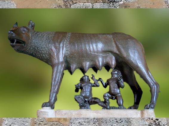 D'après la Louve du Capitole, bronze, étrusque du Ve siècle avjc, Romulus et Rémus, ajout du XVe siècle, Rome. (Marsailly/Blogostelle)