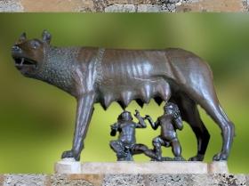 D'après la Louve du Capitole, bronze, étrusque du Ve siècle avjc, Romulus et Rémus, ajout du XVe siècle, Rome. (Marsailly/Blogostelle.)