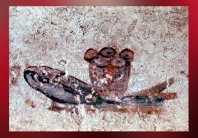 D'après le thème du Poisson et du Pain, catacombes de Saint-Calixte, IIIe siècle, Rome, art paléochrétien. (Marsailly/Blogostelle)