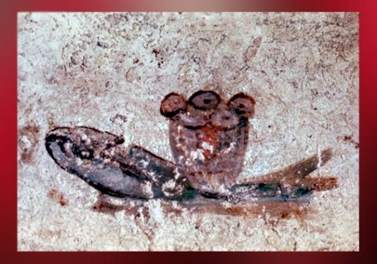 D'après le thème du Poisson et du Pain, catacombes de Saint-Calixte, Rome, art paléochrétien. (Marsailly/Blogostelle)