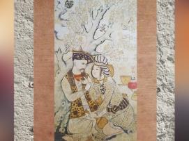D'après une scène poétique, Shah Abbas Ier et un page, par Muhammad Quasim, 1627 apjc, dessin, gouache, or et argent, Ispahan, Iran. (Marsailly/Blogostelle.)